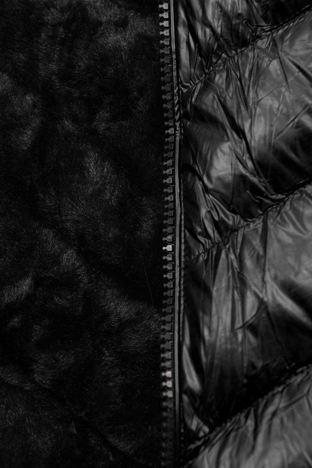 Černá zimní krátká bunda s černou kožešinou