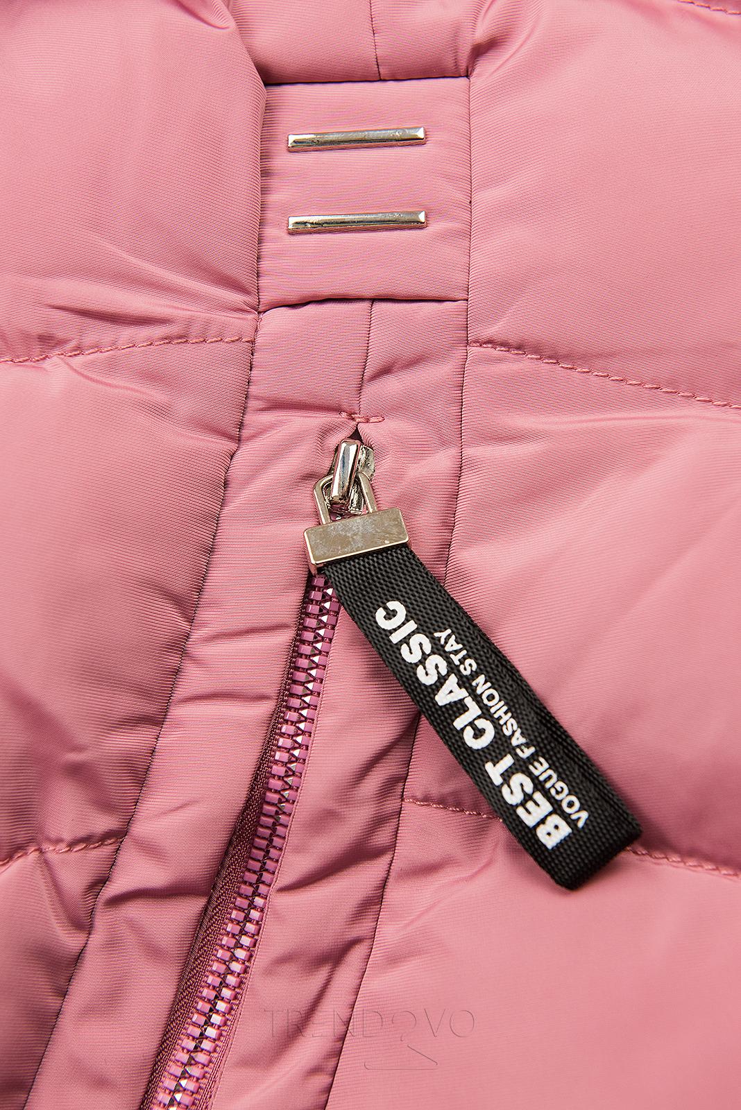 Růžová zimní bunda s odnímatelnou kapucí