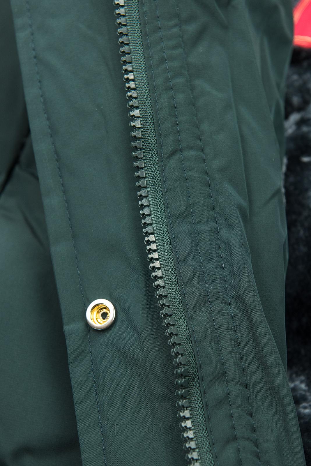 Tmavě zelená zimní bunda s plyšovou podšívkou