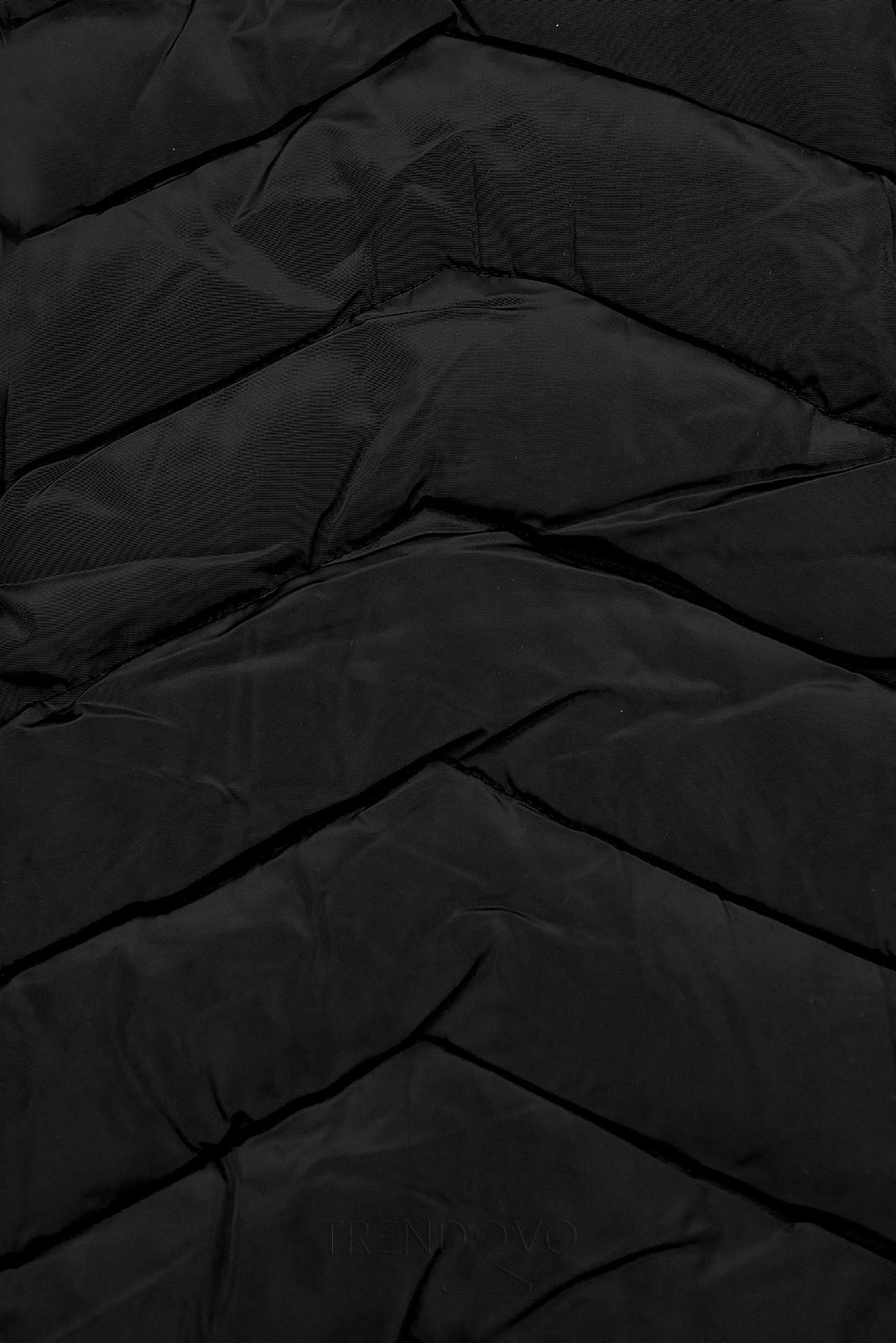 Černá zimní prošívaná bunda s nepravou kožešinou