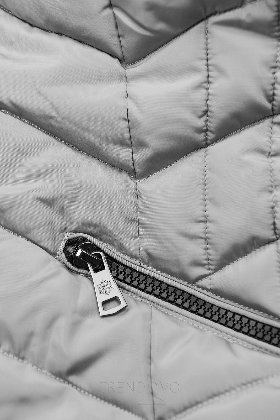 Šedá zimní prošívaná bunda s nepravou kožešinou