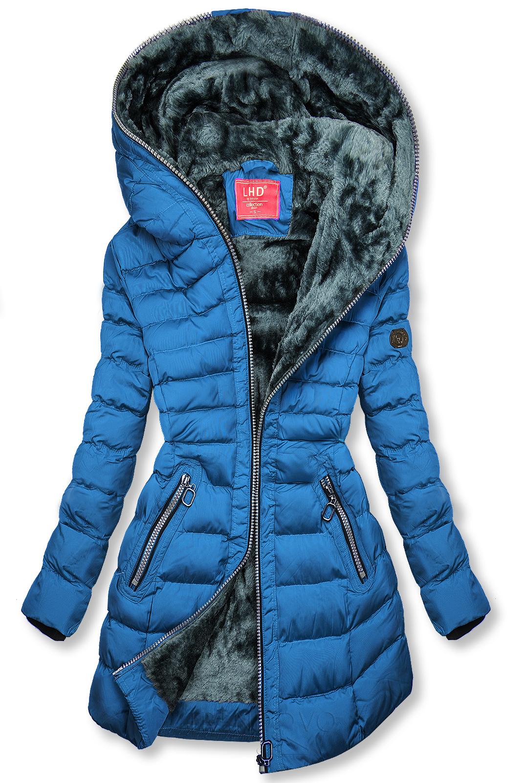 Zimní prošívaná bunda s kapucí královská modrá