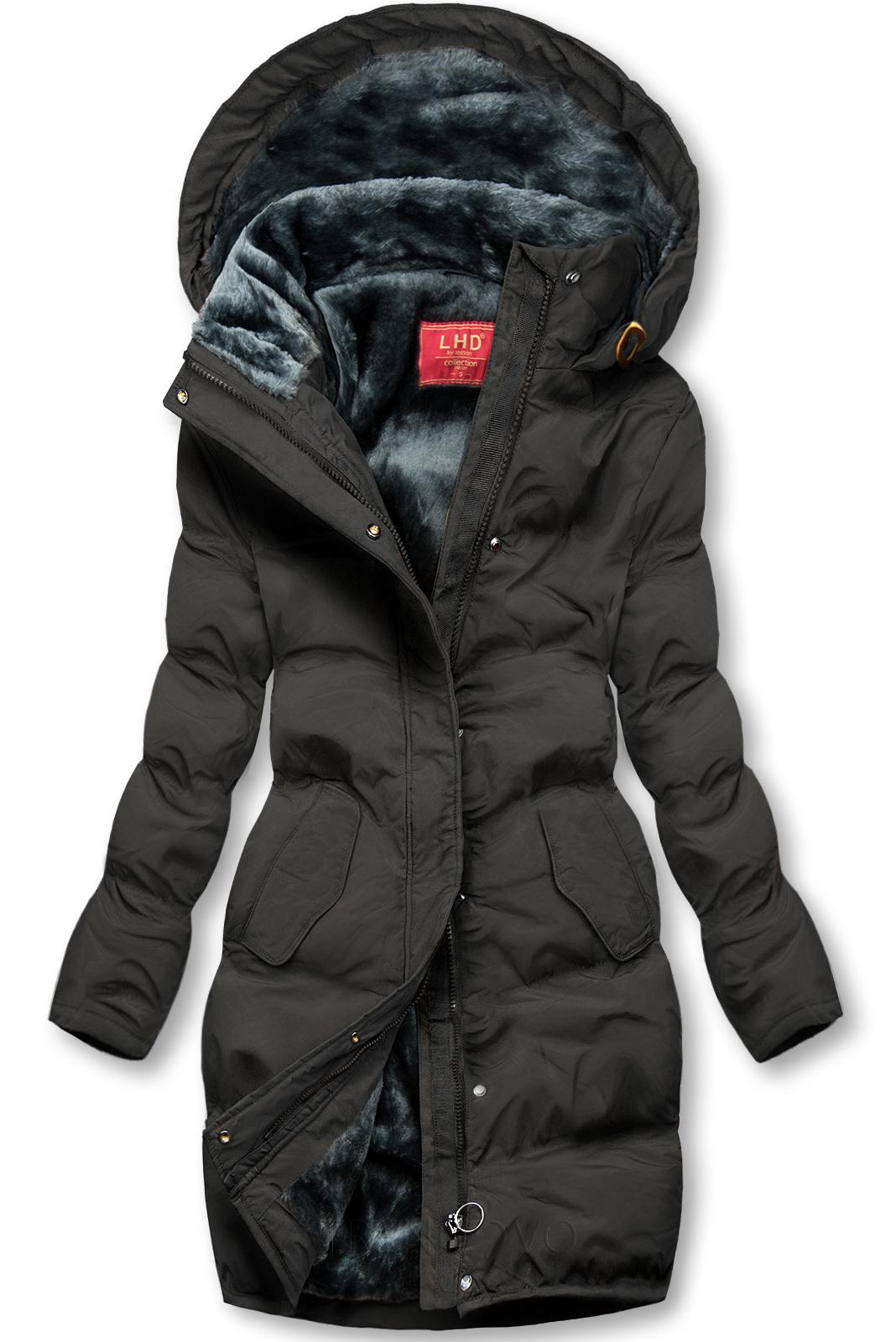 Černá zimní bunda s plyšovou podšívkou