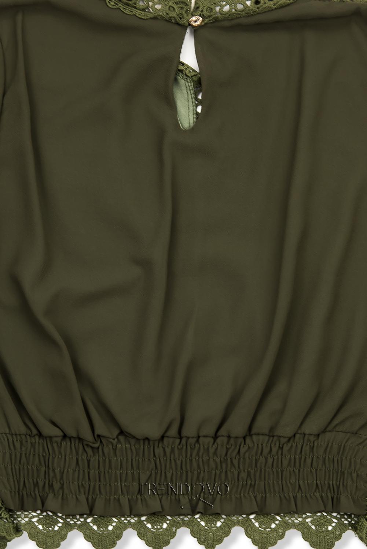 Khaki halenka s krajkou