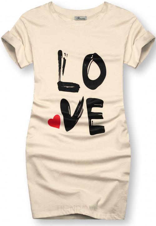 Tunika s potiskem LOVE béžová