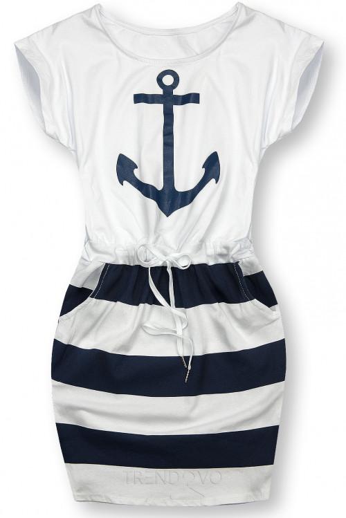 Modro-bílé šaty s kotvou