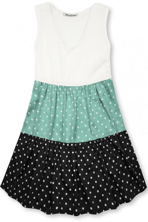 Tečkované šaty z viskózy bílá/mátová/černá