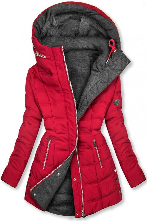Vínově červená/šedá oboustranná bunda ve sportovním stylu