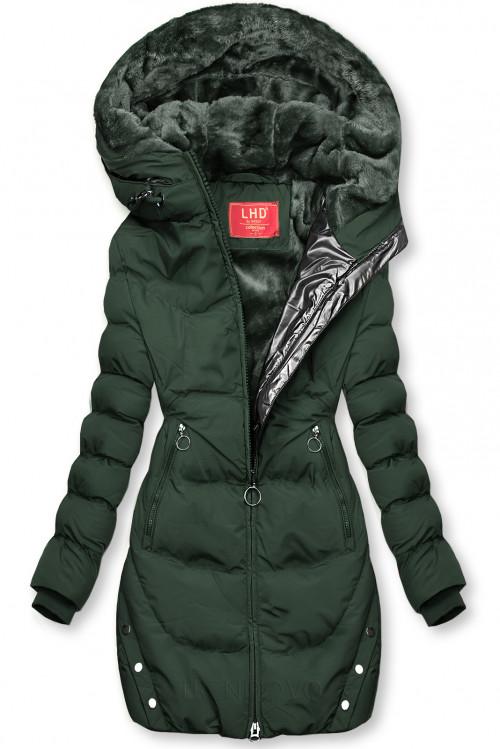 Tmavě zelená zimní bunda se stříbrným lemem