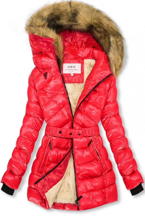 Červená/béžová lesklá bunda s páskem