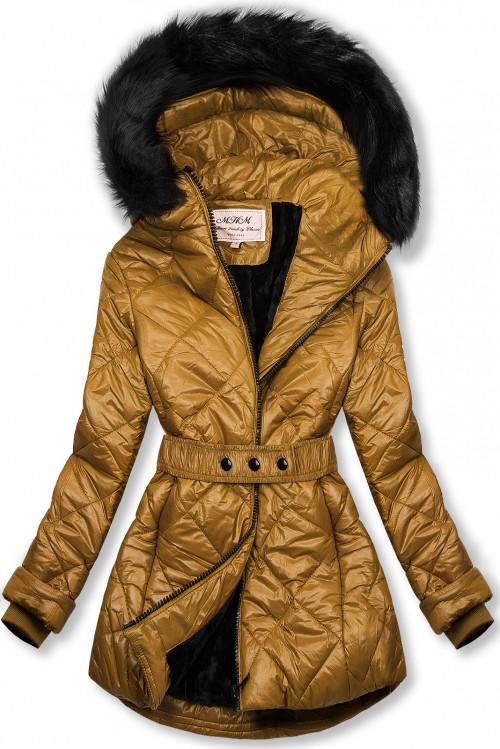 Karamelová lesklá zimní bunda s páskem
