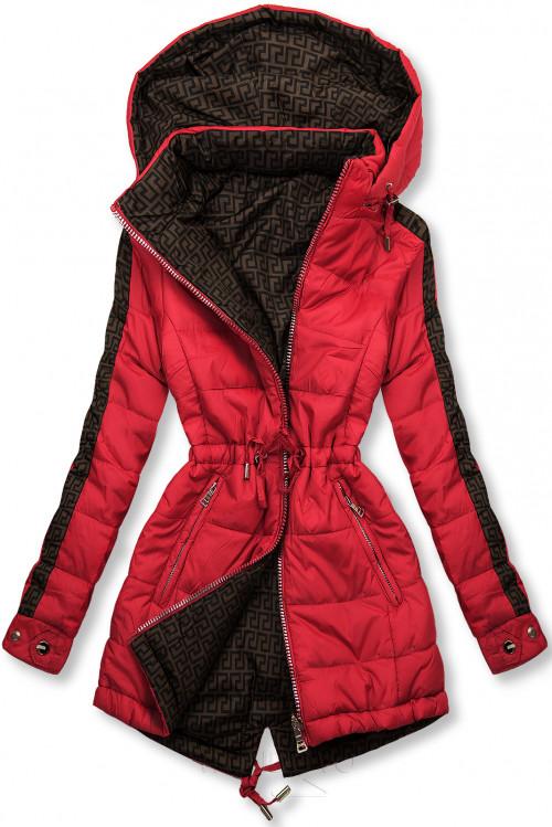 Červená/hnědá oboustranná bunda s výplní