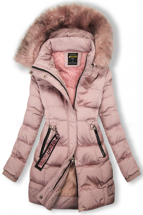 Zimní bunda starorůžová s růžovou kožešinou