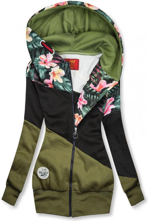 Khaki/černá květinová mikina
