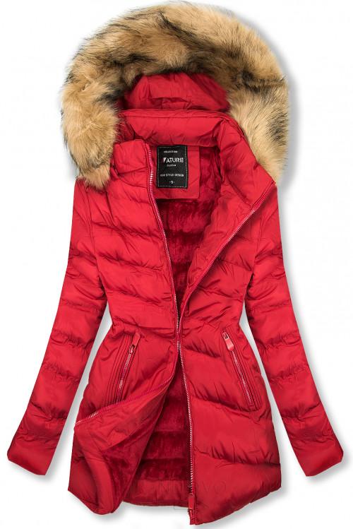 Prošívaná přechodná bunda červená