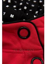 Červená tepláková souprava se vzorovanou kapucí