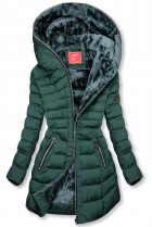 Zimní prošívaná bunda s kapucí tmavě zelená
