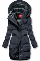 Tmavě modrá zimní bunda s plyšovou podšívkou