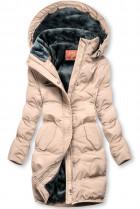 Pudrová zimní bunda s plyšovou podšívkou