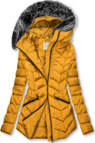 Žlutá zimní prošívaná bunda s nepravou kožešinou