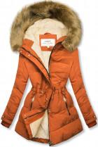 Cihlová-béžová zimní bunda