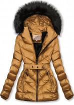 Karamelová zimní krátká bunda s černou kožešinou
