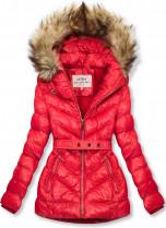 Červená zimní krátká bunda s hnědou kožešinou