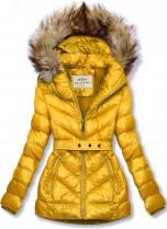 Žlutá zimní krátká bunda s hnědou kožešinou
