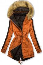 Tmavě oranžová/hnědá oboustranná zimní parka